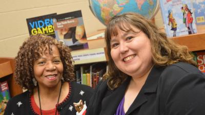 Taft Elementary School Social Worker Mary Boyd (left) with Community Legal Aid Attorney Michelle Wrona Fox (right)