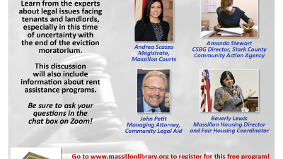 Legal Aid at: Massillon Public Library (online panel discussion) Landlord & Tenant Issues